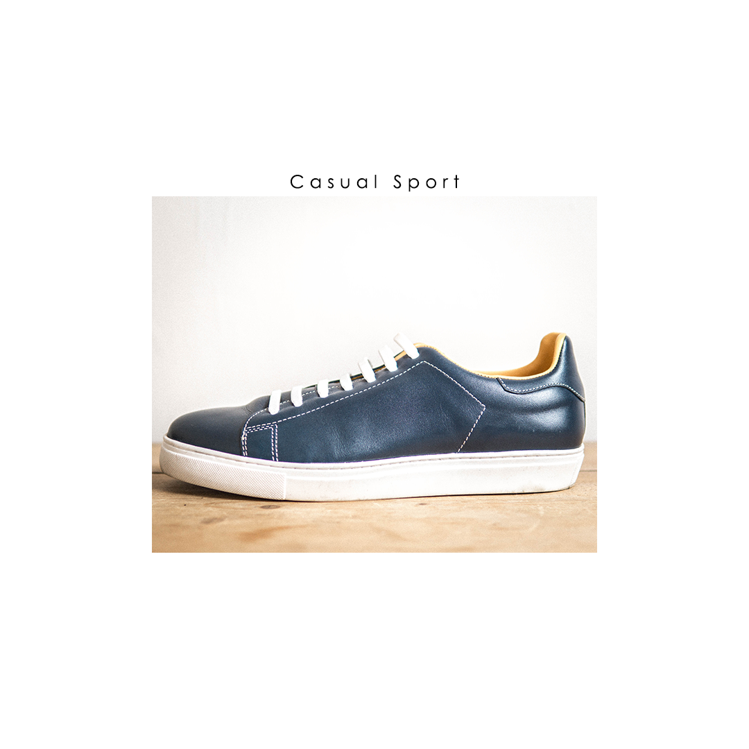 men's leather shoes sneakers blue